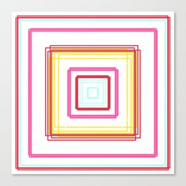 Geometric Abstract Neon Square Pattern Canvas Print