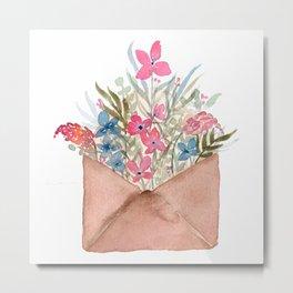 Bouquet in Envelope Metal Print
