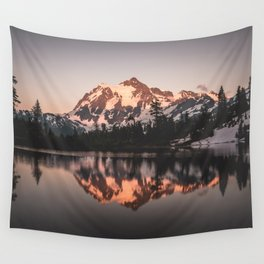 Alpenglow - Mountain Reflection - Nature Photography Wall Tapestry