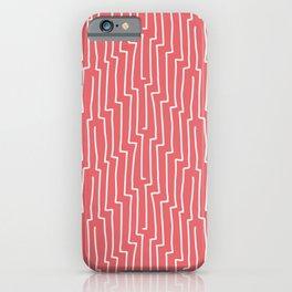 Stripes hand drawn on pink background vintage illustration pattern iPhone Case