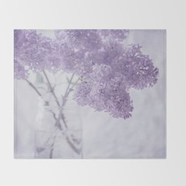 First Love - Pastel Purple Lilac Floral Decor Throw Blanket