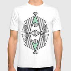 Triangle Tribal Mint SMALL White Mens Fitted Tee