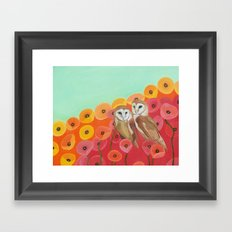 Owls in a Poppy Field Framed Art Print