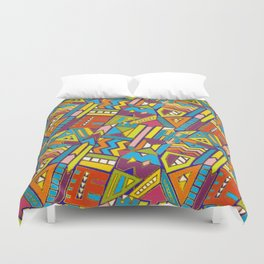 Colorful Geometric African Tribal Pattern Duvet Cover