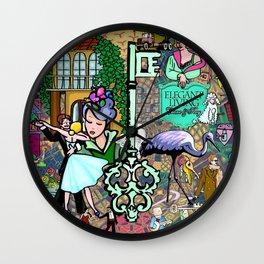 Elegant Living Crane & Key Wall Clock