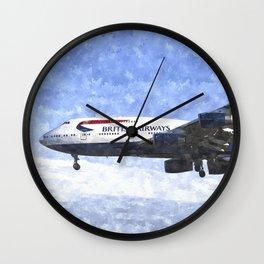 British Airways Boeing 747 Art Wall Clock