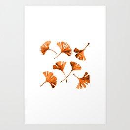 Orange Ginkgo Art Print