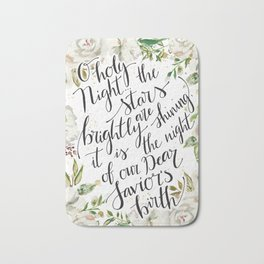 O holy night with white flowers Bath Mat