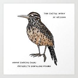 Cactus Wren – Arizona State Bird Art Print