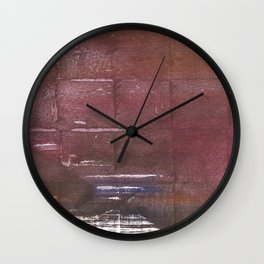 Brown maroon squares Wall Clock