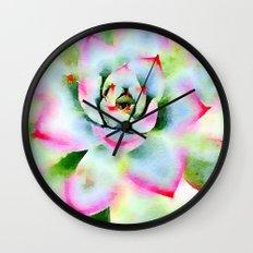 Watercolor Succulent Wall Clock