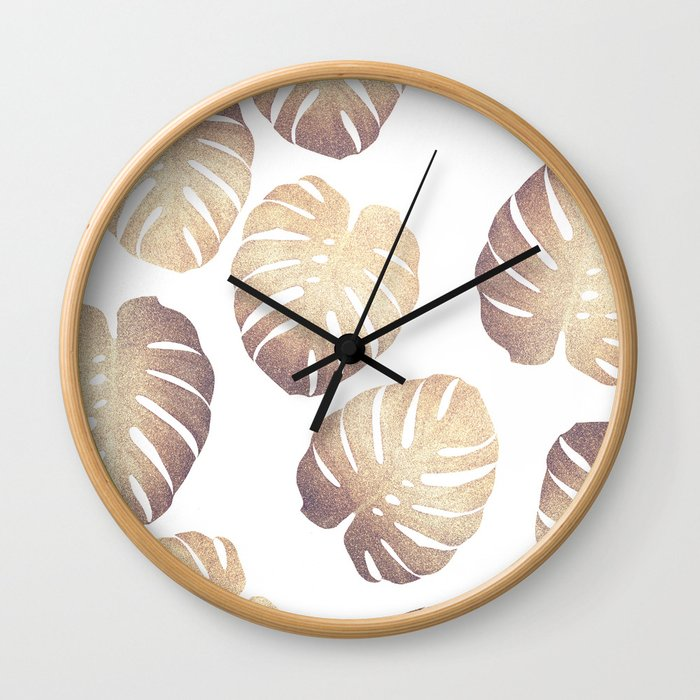 Pastel monstera Wall Clock
