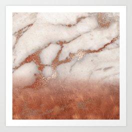 Shiny Copper Metal Foil Gold Ombre Bohemian Marble Art Print