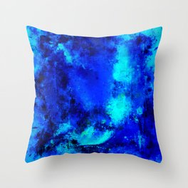 psychedelic color gradient pattern splatter watercolor blue Throw Pillow