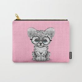 Cute Snow Leopard Cub Wearing Glasses on Pink Carry-All Pouch
