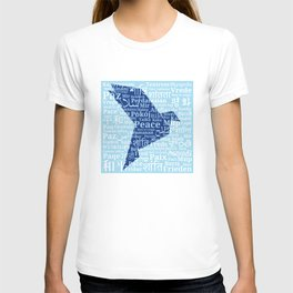 "Dove-origami on the background of the word ""Peace"" in different languages of the World T-shirt"
