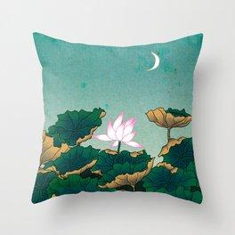 Minhwa: Lotus Pond at Night C Type (Korean traditional/folk art) Throw Pillow