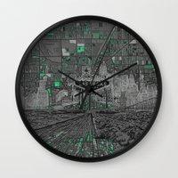las vegas Wall Clocks featuring las vegas by Bekim ART