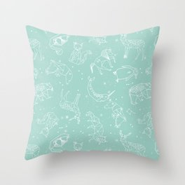 Origami Constellations - geometric animals constellations design - mint Throw Pillow