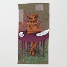 when I'm a cat - I pretend to work Beach Towel