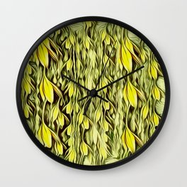flower paradise moon shining in the floral jungle painting Wall Clock