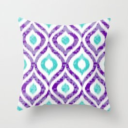 PURPLE & TEAL IKAT PATTERN COPY Throw Pillow