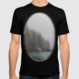 Foggy morning at the lake T-shirt