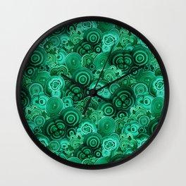 Malachite Swirls in Emerald Garden Wall Clock
