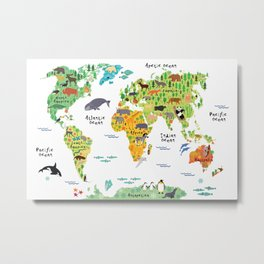Animal World Map Metal Print