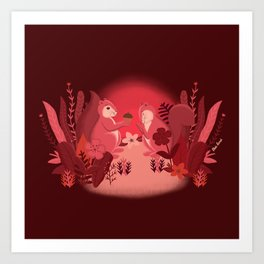 Squirrels in Love Art Print