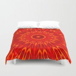 Red Sun Mandala Duvet Cover