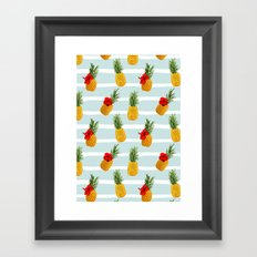 Hawaiian Summer Pineapple Seamless Pattern Framed Art Print