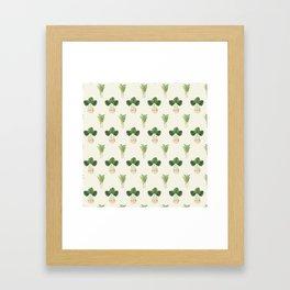 Modern ivory green tropical cheese monster leaves floral Framed Art Print