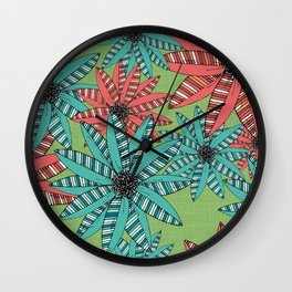 Red and Blue Striped Sketch Flowers Illustrated Pattern Wall Clock