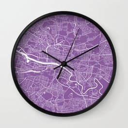 Glasgow map lilac Wall Clock