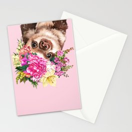 Flower Crown Baby Sloth in Pink Stationery Cards