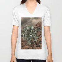 cthulhu V-neck T-shirts featuring Cthulhu by MrDenmac