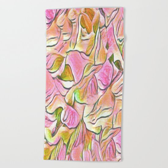 Flowing Soft Petal Abstract - Pink Beach Towel