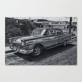 Old Car in Black and White Canvas Print