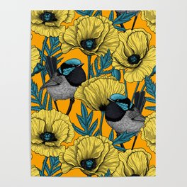 Fairy wren and poppies in yellow Poster