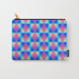Pattern of blue hearts from the sky stripes on a yellow background in a bright intersection. Carry-All Pouch