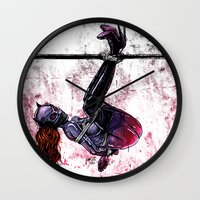 bondage Wall Clocks featuring Bondage Catwoman by lucille umali