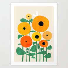 Sunflower and Bee Art Print