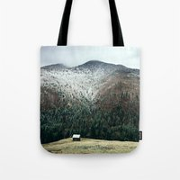 cabin Tote Bags featuring Cabin in the woods by Find a Gift Now
