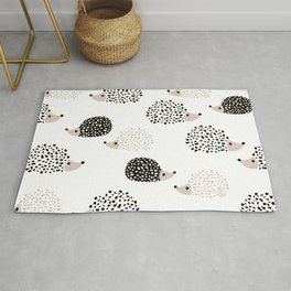 Hedgehog friends black and white spots Rug
