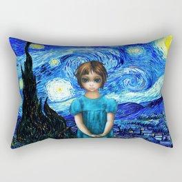 Big Eyes With Starry Night Vincent Van Gogh Rectangular Pillow