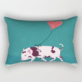 Baby Pig With Heart Balloon Rectangular Pillow