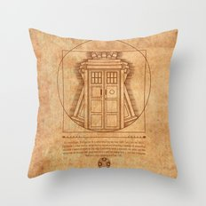 Vitruvian Tardis Throw Pillow