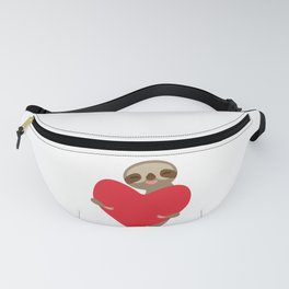 Funny sloth with a red heart Fanny Pack