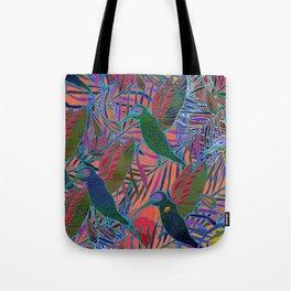 Watercolor textured seamless tropical pattern. Humming bird. Tote Bag